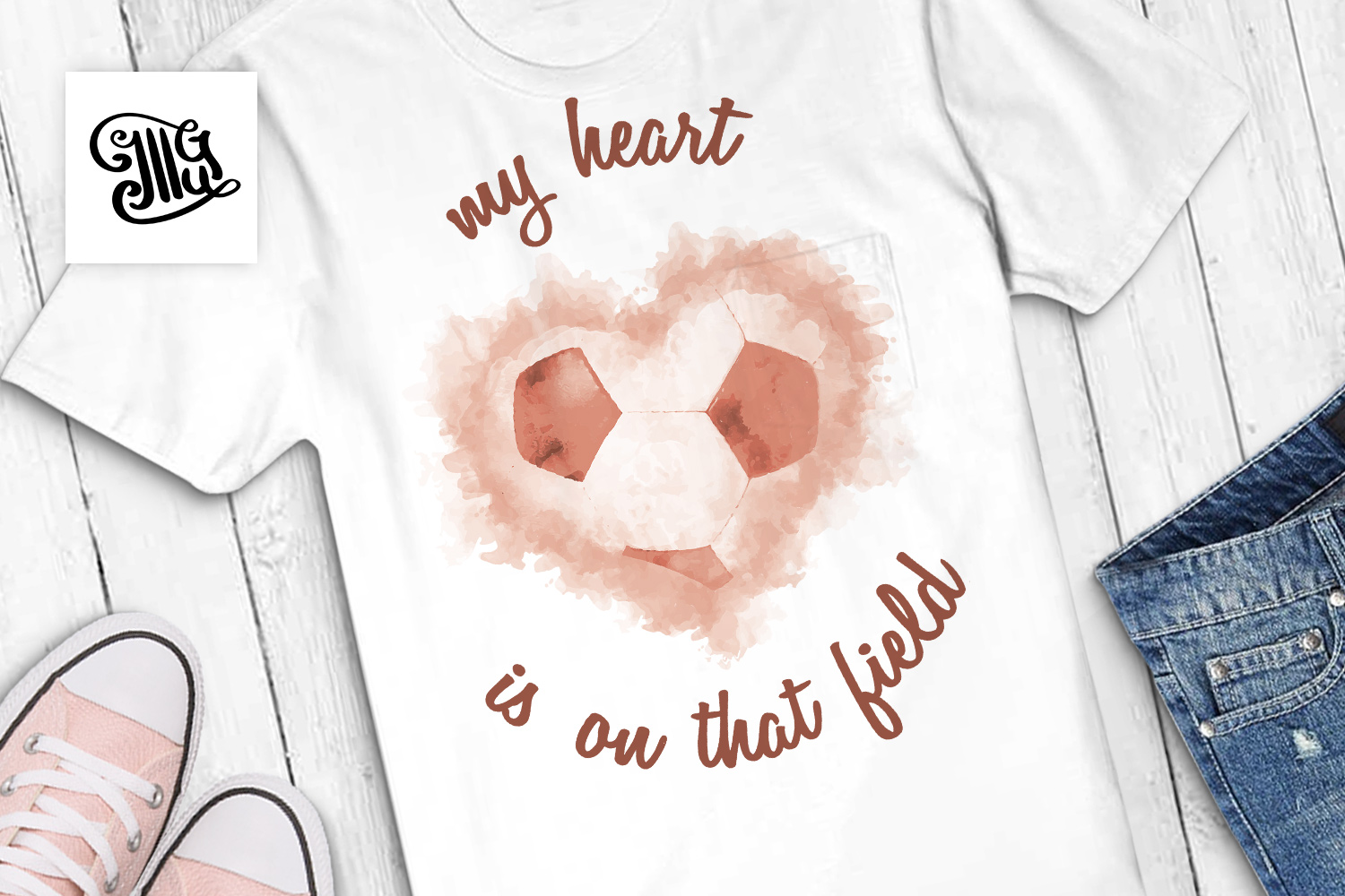 Download Free My Heart Is On The Field Watercolor Sublimation Graphic By for Cricut Explore, Silhouette and other cutting machines.