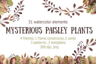 Mysterious Paisley Plants - Watercolor Clip Art Set Graphic Illustrations By mashamashastu