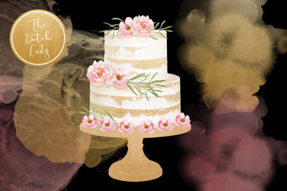 Print on Demand: Naked Layered Wedding Cake Clipart Graphic Illustrations By daphnepopuliers - Image 2