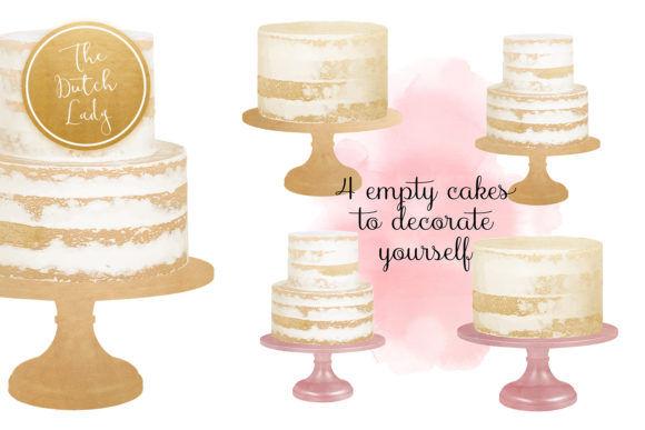 Print on Demand: Naked Layered Wedding Cake Clipart Graphic Illustrations By daphnepopuliers - Image 3
