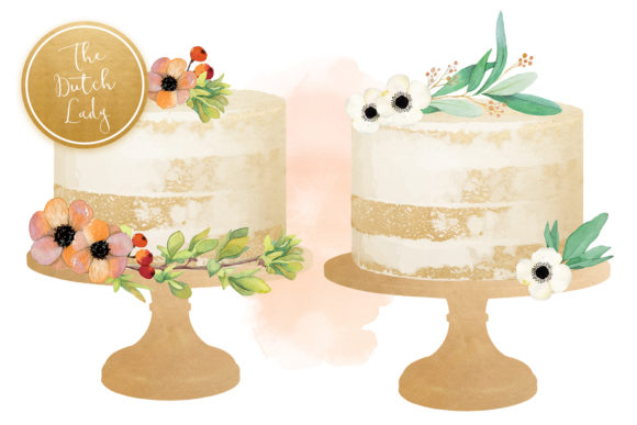 Print on Demand: Naked Layered Wedding Cake Clipart Graphic Illustrations By daphnepopuliers - Image 4