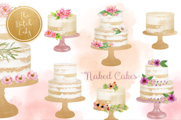 Print on Demand: Naked Layered Wedding Cake Clipart Graphic Illustrations By daphnepopuliers - Image 1