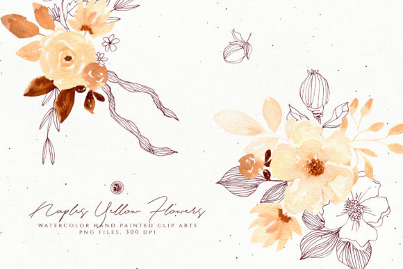 Naples Yellow Flowers Graphic Illustrations By webvilla - Image 1