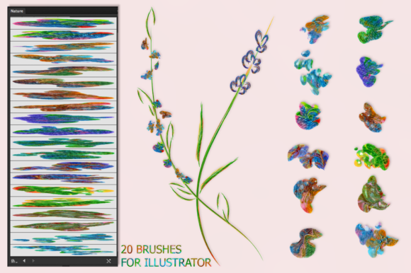 Download Free Nature Brushes For Illustrator Graphic By Faerydesign Creative for Cricut Explore, Silhouette and other cutting machines.