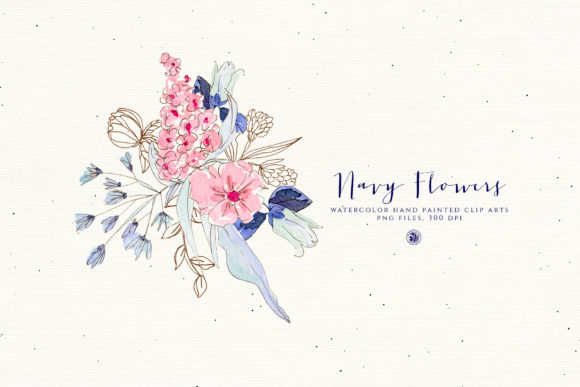 Navy Flowers Graphic Download