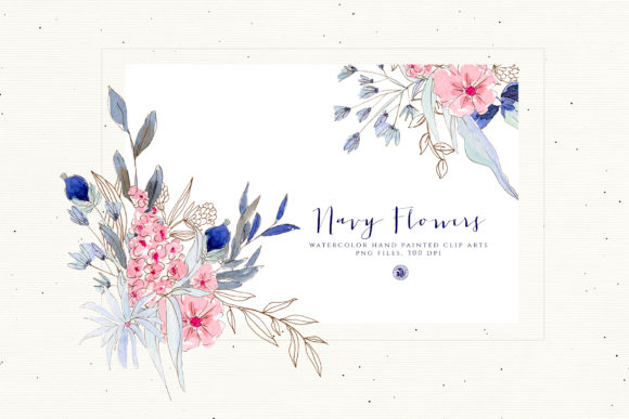Navy Flowers Graphic Preview