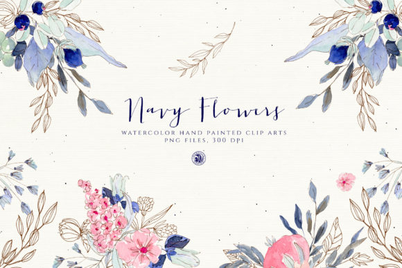 Navy Flowers Graphic By webvilla