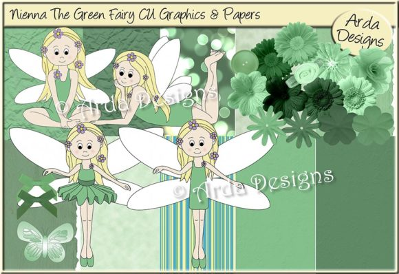 Print on Demand: Nienna the Green Fairy CU Graphics & Paper Graphic Illustrations By Arda Designs