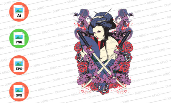 Ninja Assassin Dragon Beauty Graphic Illustrations By Skull and Rose - Image 3