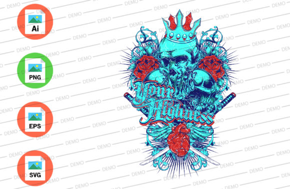 Ninja Skull Graphic Illustrations By Skull and Rose