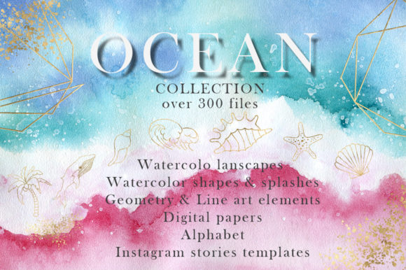 Ocean Watercolor Collection Graphic Illustrations By EvgeniiasArt
