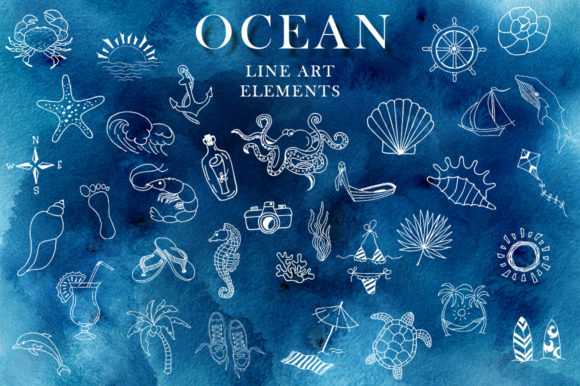 Ocean Watercolor Collection Graphic Illustrations By EvgeniiasArt - Image 8
