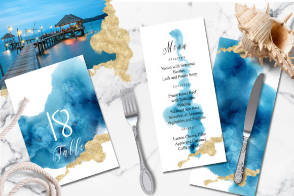 Ocean Wedding Invitations Suit Graphic Print Templates By EvgeniiasArt - Image 2