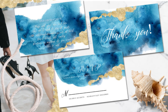 Ocean Wedding Invitations Suit Graphic Print Templates By EvgeniiasArt - Image 3