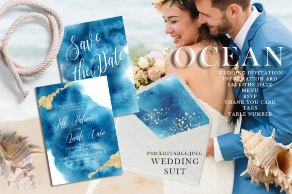 Ocean Wedding Invitations Suit Graphic Print Templates By EvgeniiasArt - Image 1