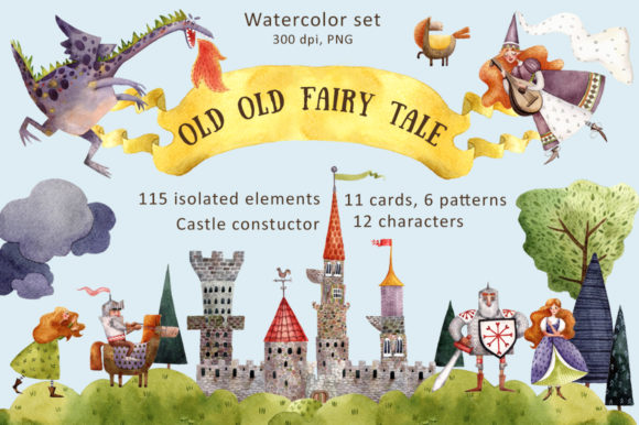 Old Old Fairy Tale - Watercolor Clip Art Set Graphic Illustrations By mashamashastu