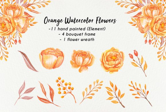 Print on Demand: Orange Watercolor Flowers Graphic Illustrations By OrchidArt