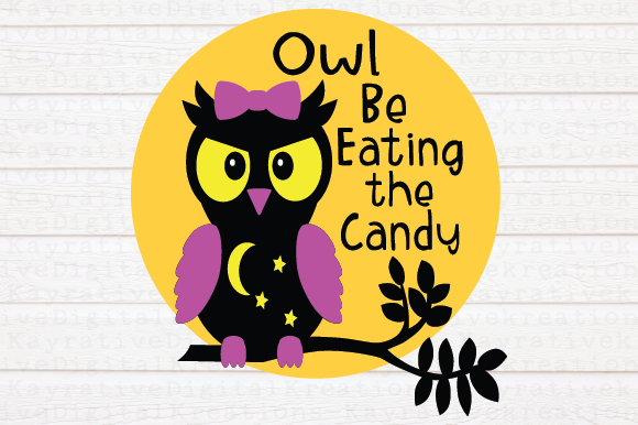 Download Free Owl Be Eating The Candy Halloween Shirt Svg Girls Halloween Graphic By Kayla Griffin Creative Fabrica for Cricut Explore, Silhouette and other cutting machines.