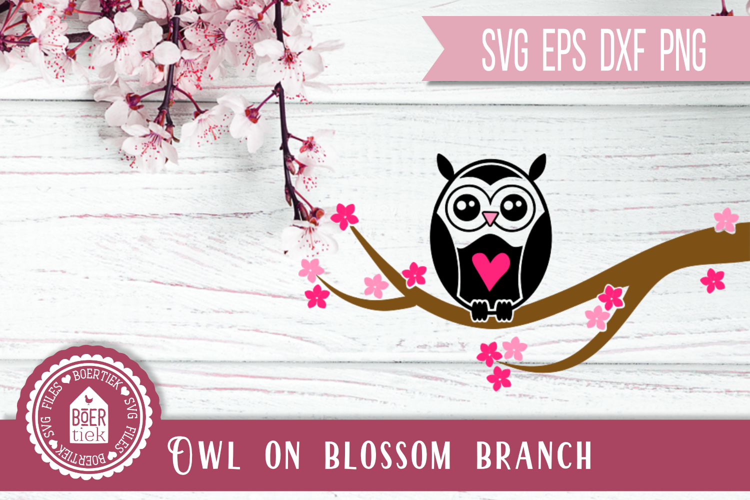 Download Free Owl On Blossom Branch Graphic By Boertiek Creative Fabrica for Cricut Explore, Silhouette and other cutting machines.