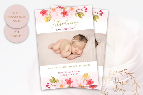 Print on Demand: PSD Birth Announcement Card Template Graphic Print Templates By daphnepopuliers - Image 1