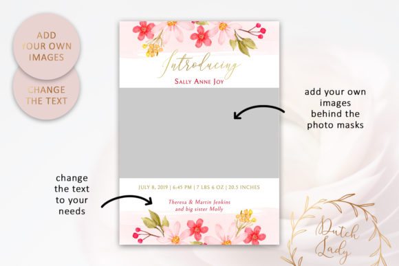 Print on Demand: PSD Birth Announcement Card Template Graphic Print Templates By daphnepopuliers - Image 2