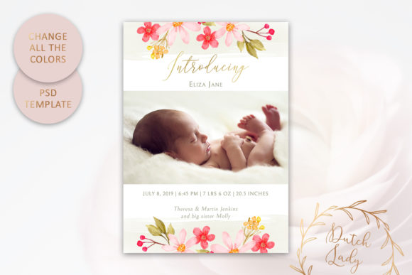 Print on Demand: PSD Birth Announcement Card Template Graphic Print Templates By daphnepopuliers - Image 3