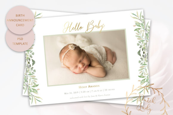 Print on Demand: PSD Birth Announcement Card Template Graphic Print Templates By daphnepopuliers
