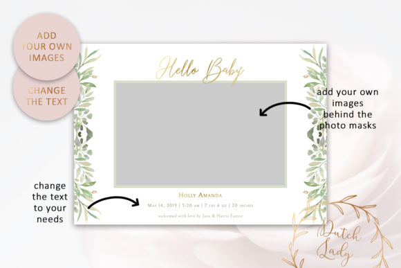 Print on Demand: Birth Announcement Card Template Graphic Print Templates By daphnepopuliers - Image 2
