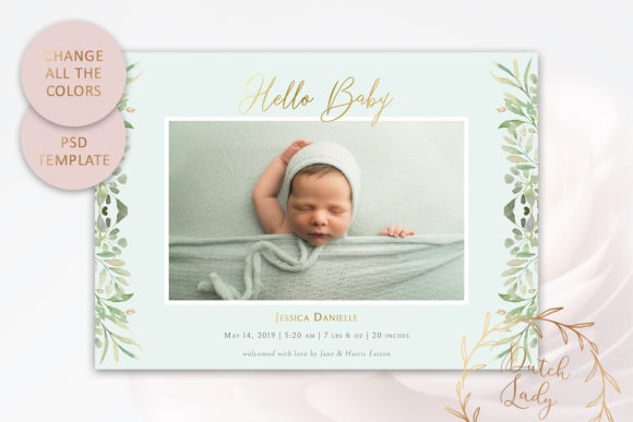 Print on Demand: Birth Announcement Card Template Graphic Print Templates By daphnepopuliers - Image 3