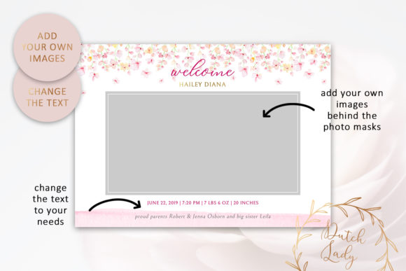 Download Free Psd Birth Announcement Card Template Graphic By Daphnepopuliers for Cricut Explore, Silhouette and other cutting machines.