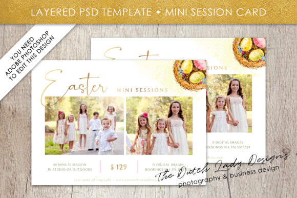 Print on Demand: PSD Easter Mini Photo Session Card Template Graphic Print Templates By daphnepopuliers