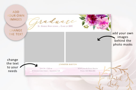 Download Free Psd Graduation Announcement Card Template Graphic By for Cricut Explore, Silhouette and other cutting machines.