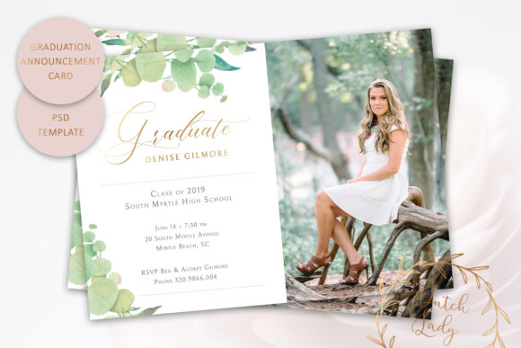Print on Demand: PSD Graduation Announcement Card Template Graphic Print Templates By daphnepopuliers
