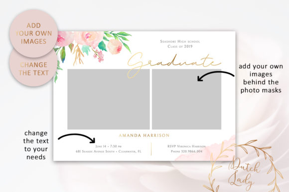 Download Free Psd Graduation Announcement Card Template Graphic By Daphnepopuliers Creative Fabrica SVG Cut Files