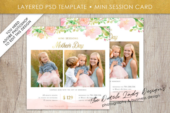 Print on Demand: PSD Mother's Day Mini Photo Session Card Template Graphic Print Templates By daphnepopuliers