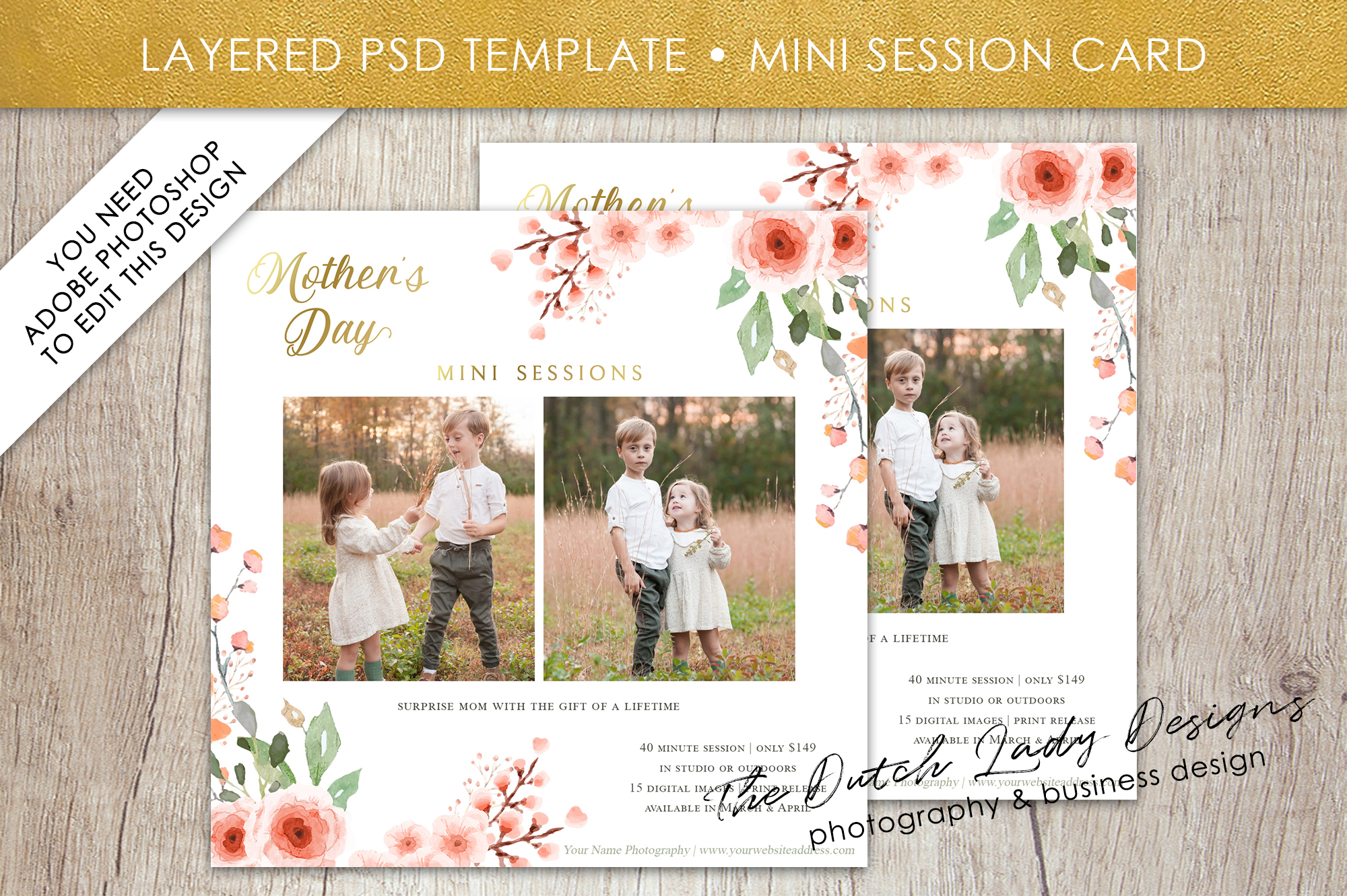 Download Free Psd Mother S Day Mini Photo Session Card Template Graphic By for Cricut Explore, Silhouette and other cutting machines.
