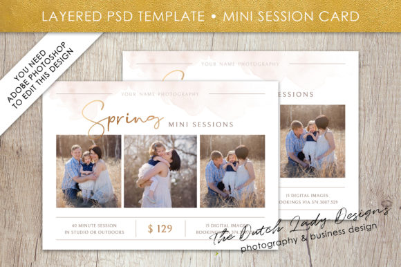 Print on Demand: PSD Spring Mini Photo Session Card Template Graphic Print Templates By daphnepopuliers