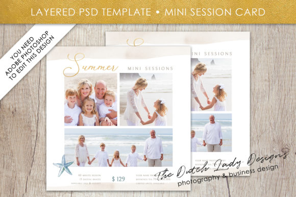 Print on Demand: PSD Summer Beach Mini Photo Session Card Template Graphic Print Templates By daphnepopuliers