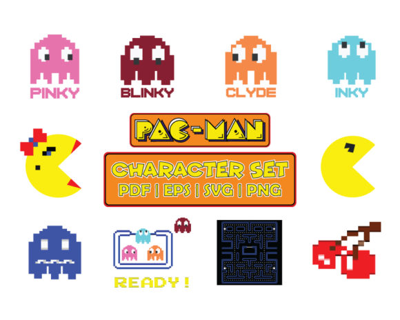 Download Free Pacman Classic Arcade Game Character Set Grafico Por for Cricut Explore, Silhouette and other cutting machines.