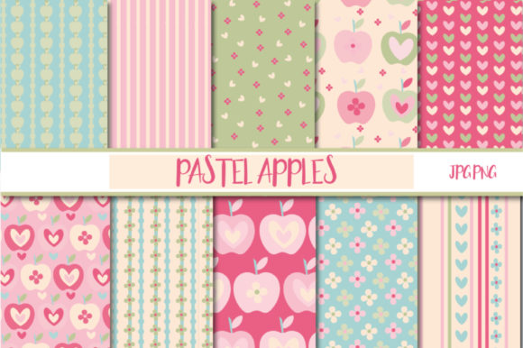 Print on Demand: Pastel Apples Paper Graphic Patterns By poppymoondesign