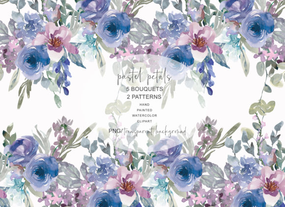 Pastel Blue and Mauve Floral Bouquet Clipart Graphic Illustrations By Patishop Art