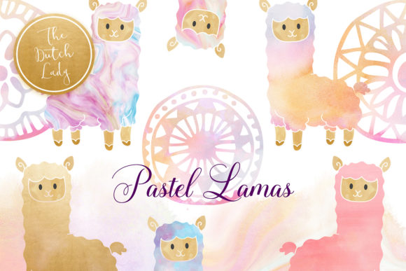 Print on Demand: Pastel Lama & Alpaca Clipart Set Graphic Illustrations By daphnepopuliers