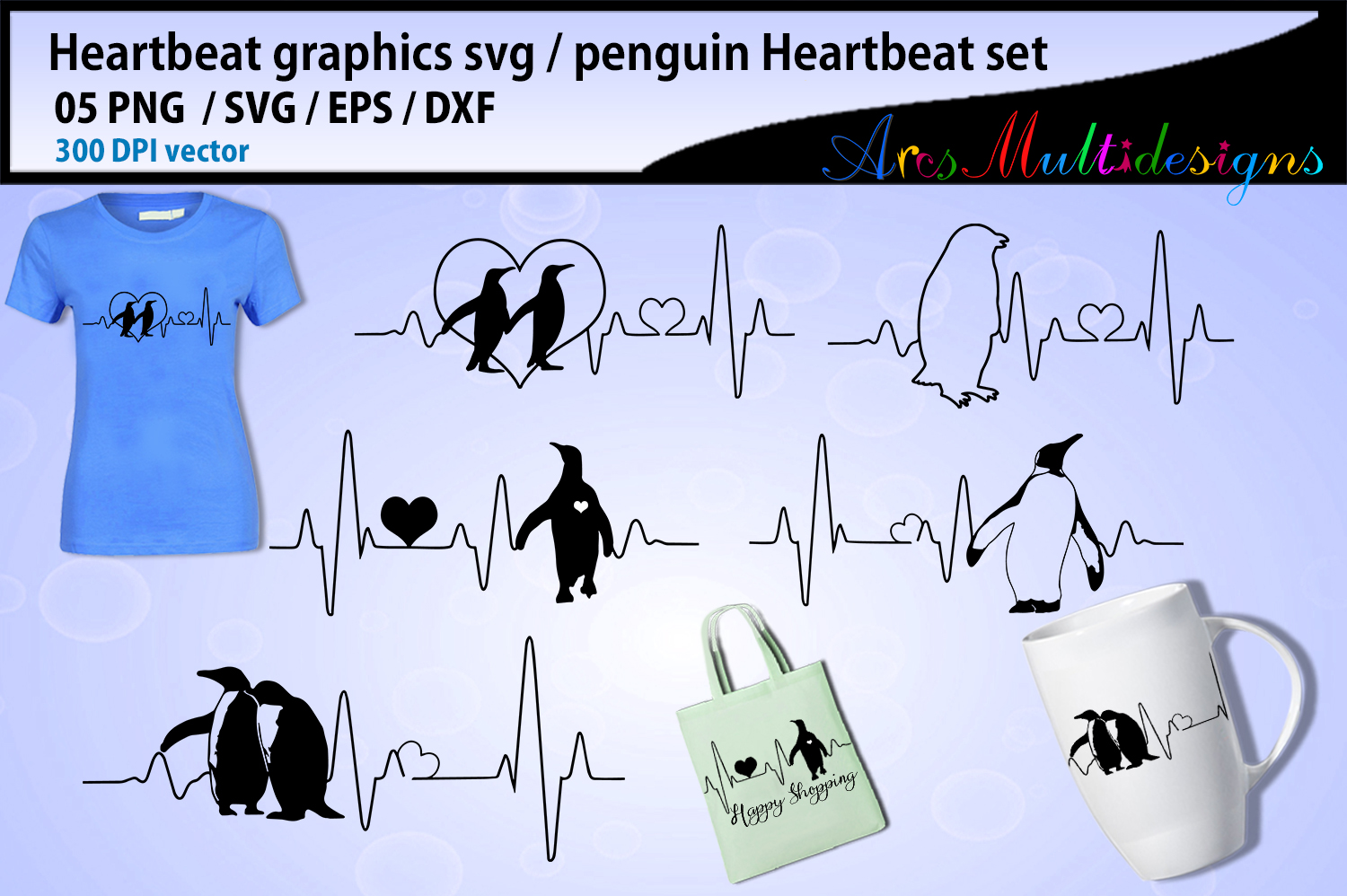 Download Free Penguin Heartbeat Graphics And Illustration Graphic By Arcs for Cricut Explore, Silhouette and other cutting machines.