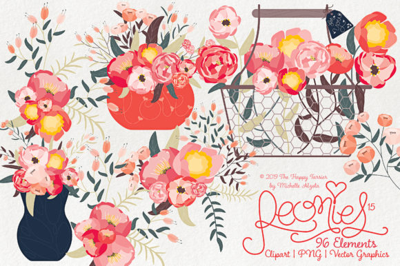 Print on Demand: Peonies Clipart Graphic Illustrations By Michelle Alzola