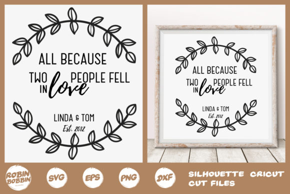Print on Demand: Personalized Family Poster - All Because Two People Fell in Love Grafik Designvorlagen von RobinBobbinDesign
