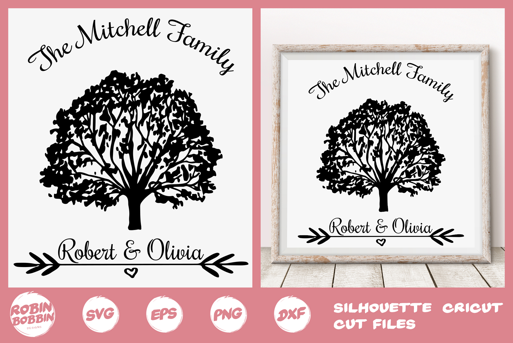 Download Free Personalized Family Tree Graphic By Robinbobbindesign Creative for Cricut Explore, Silhouette and other cutting machines.