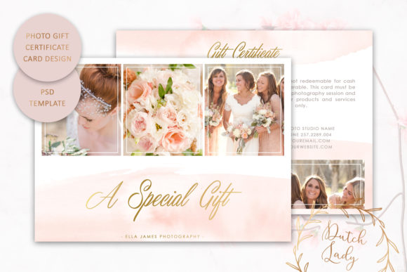 Print on Demand: Photo Gift Certificate Card Template Design #5 Graphic Print Templates By daphnepopuliers