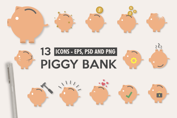 Print on Demand: Piggy Bank Illustration Icons Pack Graphic Icons By artsbynaty