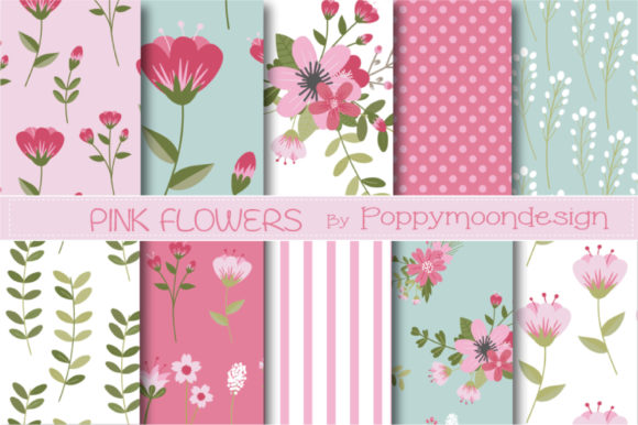 Print on Demand: Pink Flower Papers Graphic Patterns By poppymoondesign