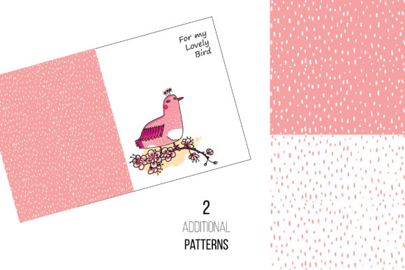 Download Free Pink Japanese Bird Floral Set Graphic By Zooza Art Creative for Cricut Explore, Silhouette and other cutting machines.